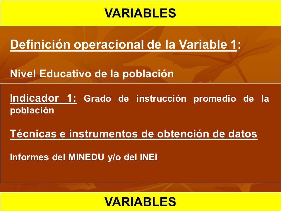 HIPOTESIS CIENTIFICA VARIABLES Definición operacional de la Variable 1: Nivel Educativo de la población Indicador 1: Grado de instrucción promedio de