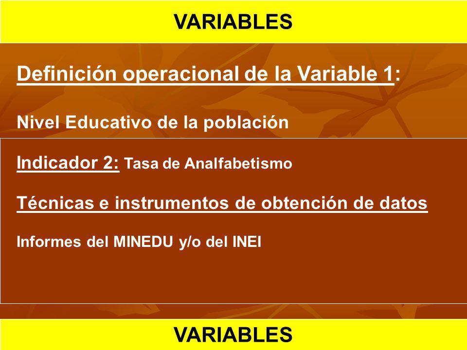 HIPOTESIS CIENTIFICA VARIABLES Definición operacional de la Variable 1: Nivel Educativo de la población Indicador 2: Tasa de Analfabetismo Técnicas e