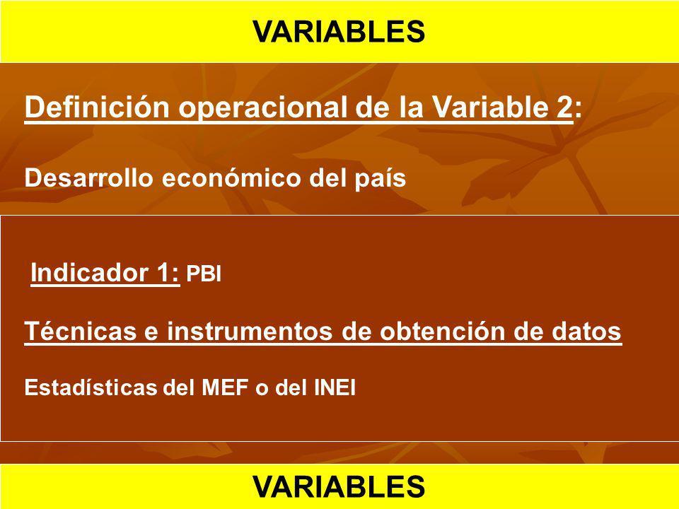 HIPOTESIS CIENTIFICA VARIABLES Definición operacional de la Variable 2: Desarrollo económico del país Indicador 1: PBI Técnicas e instrumentos de obte