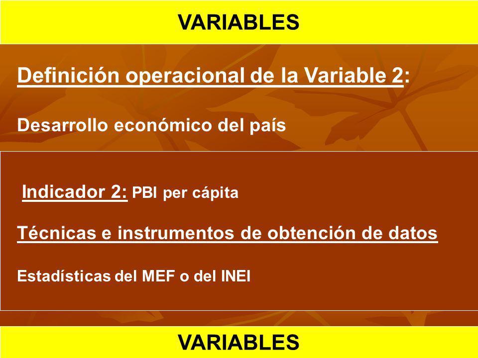 HIPOTESIS CIENTIFICA VARIABLES Definición operacional de la Variable 2: Desarrollo económico del país Indicador 2: PBI per cápita Técnicas e instrumen