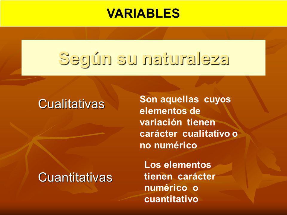 Según su naturaleza CualitativasCuantitativas Son aquellas cuyos elementos de variación tienen carácter cualitativo o no numérico Los elementos tienen