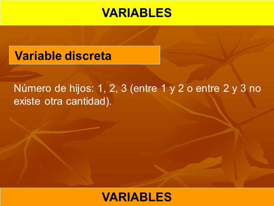 Variable discreta Número de hijos: 1, 2, 3 (entre 1 y 2 o entre 2 y 3 no existe otra cantidad).