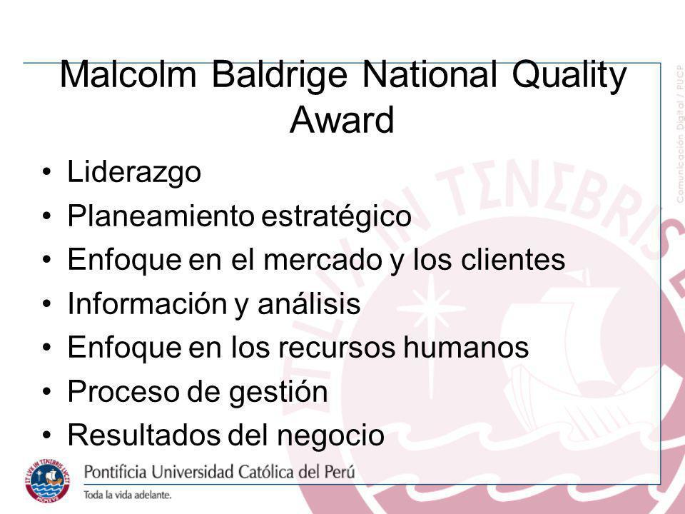 Malcolm Baldrige National Quality Award Liderazgo Planeamiento estratégico Enfoque en el mercado y los clientes Información y análisis Enfoque en los
