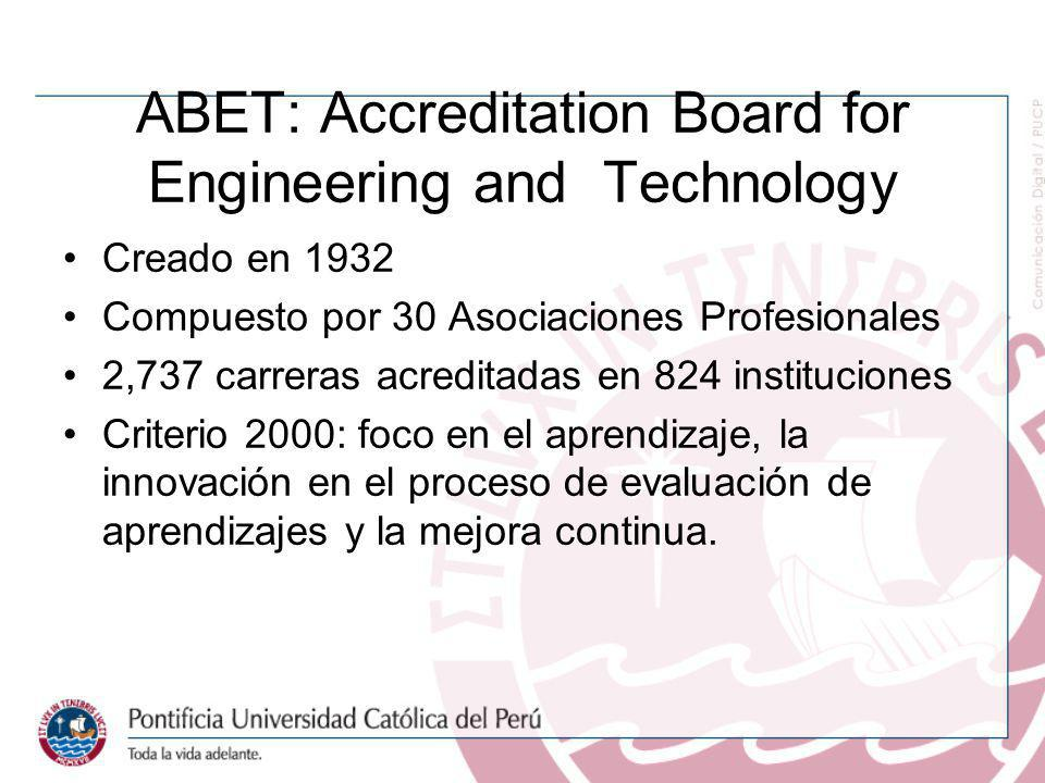 ABET: Accreditation Board for Engineering and Technology Creado en 1932 Compuesto por 30 Asociaciones Profesionales 2,737 carreras acreditadas en 824