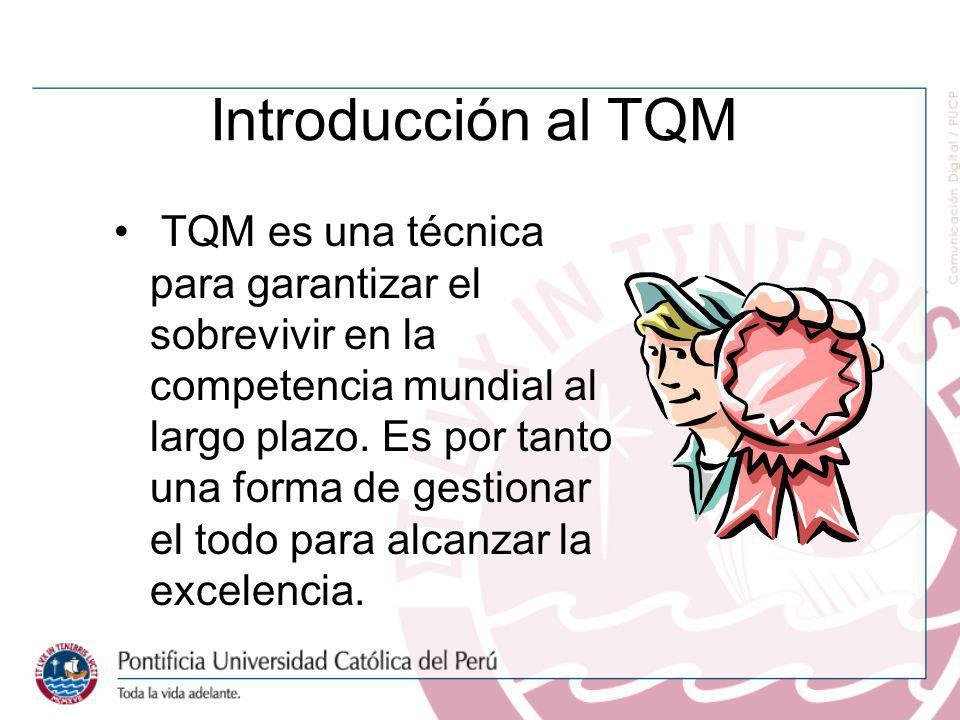 Introducción al TQM TQM es una técnica para garantizar el sobrevivir en la competencia mundial al largo plazo. Es por tanto una forma de gestionar el