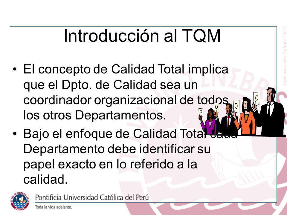 Introducción al TQM El concepto de Calidad Total implica que el Dpto. de Calidad sea un coordinador organizacional de todos los otros Departamentos. B