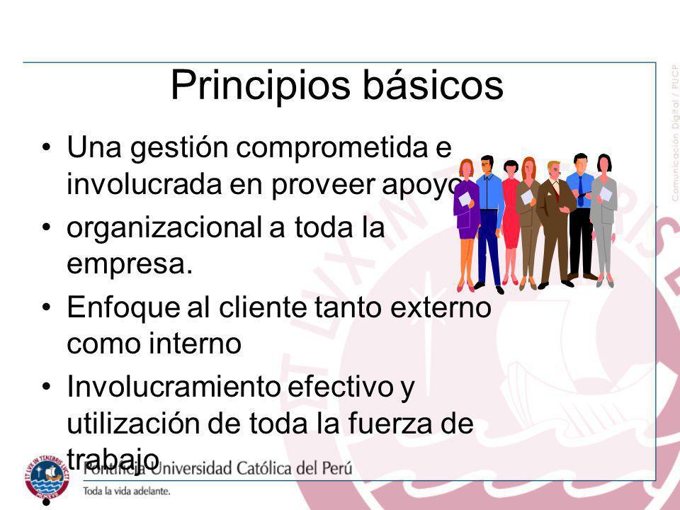 Principios básicos Una gestión comprometida e involucrada en proveer apoyo organizacional a toda la empresa. Enfoque al cliente tanto externo como int