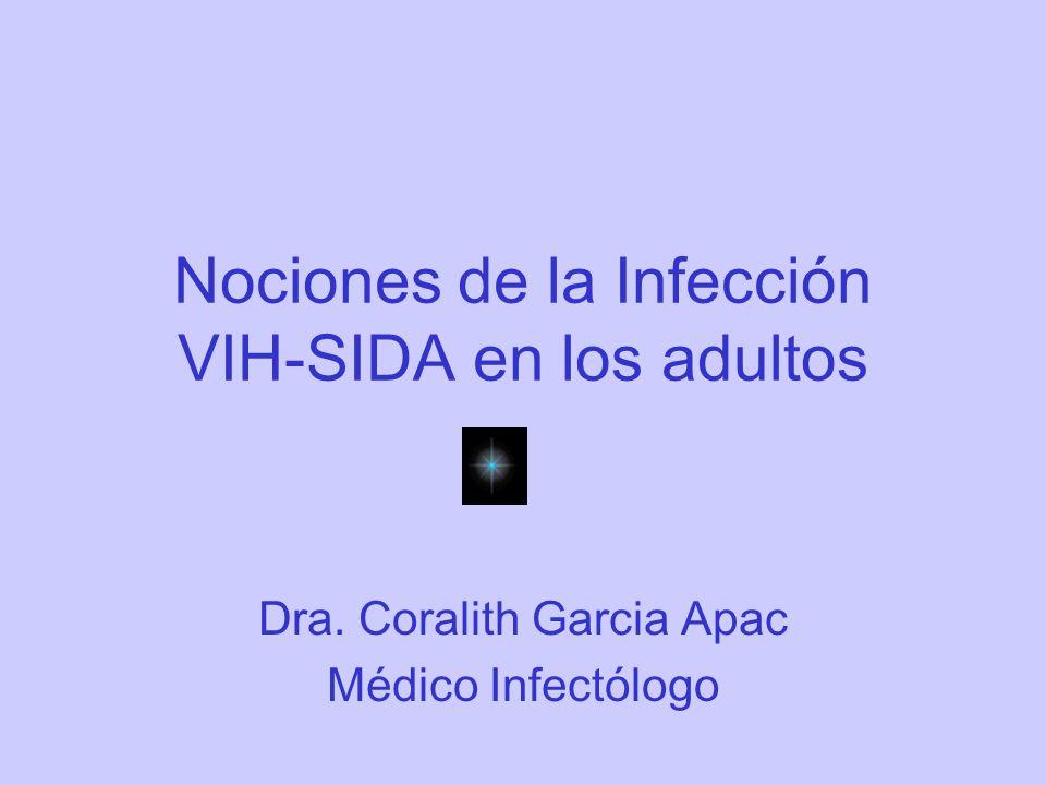 Nociones de la Infección VIH-SIDA en los adultos Dra. Coralith Garcia Apac Médico Infectólogo