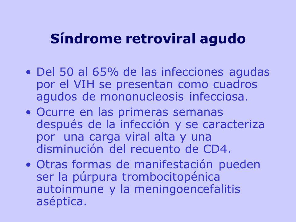 Síndrome retroviral agudo Del 50 al 65% de las infecciones agudas por el VIH se presentan como cuadros agudos de mononucleosis infecciosa.