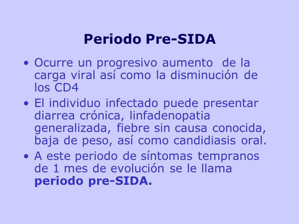 Periodo Pre-SIDA Ocurre un progresivo aumento de la carga viral así como la disminución de los CD4 El individuo infectado puede presentar diarrea crónica, linfadenopatia generalizada, fiebre sin causa conocida, baja de peso, así como candidiasis oral.