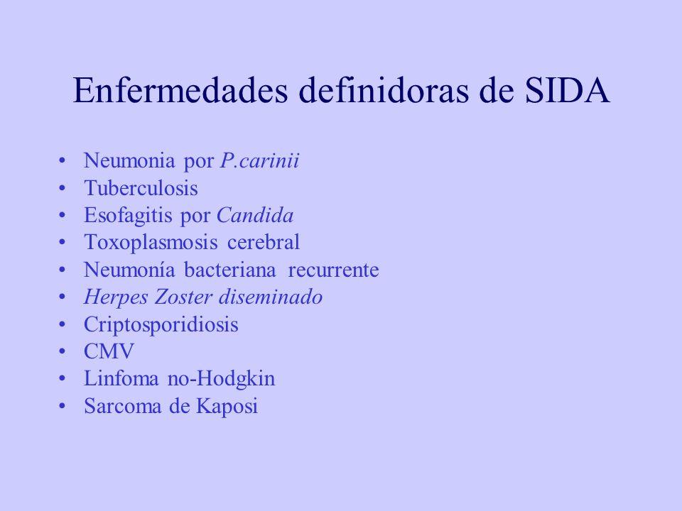 Enfermedades definidoras de SIDA Neumonia por P.carinii Tuberculosis Esofagitis por Candida Toxoplasmosis cerebral Neumonía bacteriana recurrente Herpes Zoster diseminado Criptosporidiosis CMV Linfoma no-Hodgkin Sarcoma de Kaposi