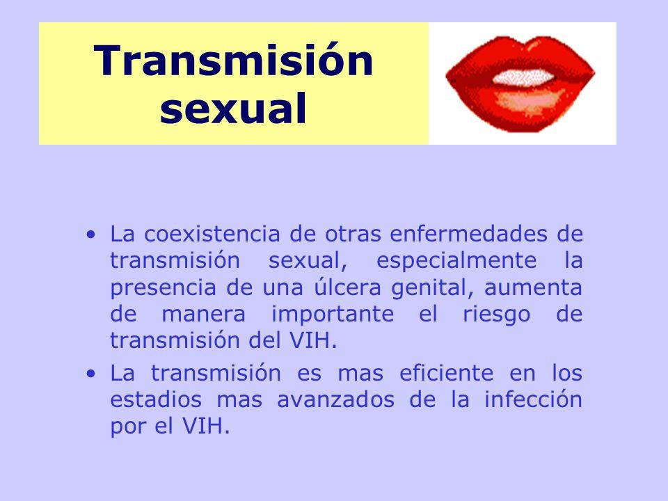 La coexistencia de otras enfermedades de transmisión sexual, especialmente la presencia de una úlcera genital, aumenta de manera importante el riesgo de transmisión del VIH.