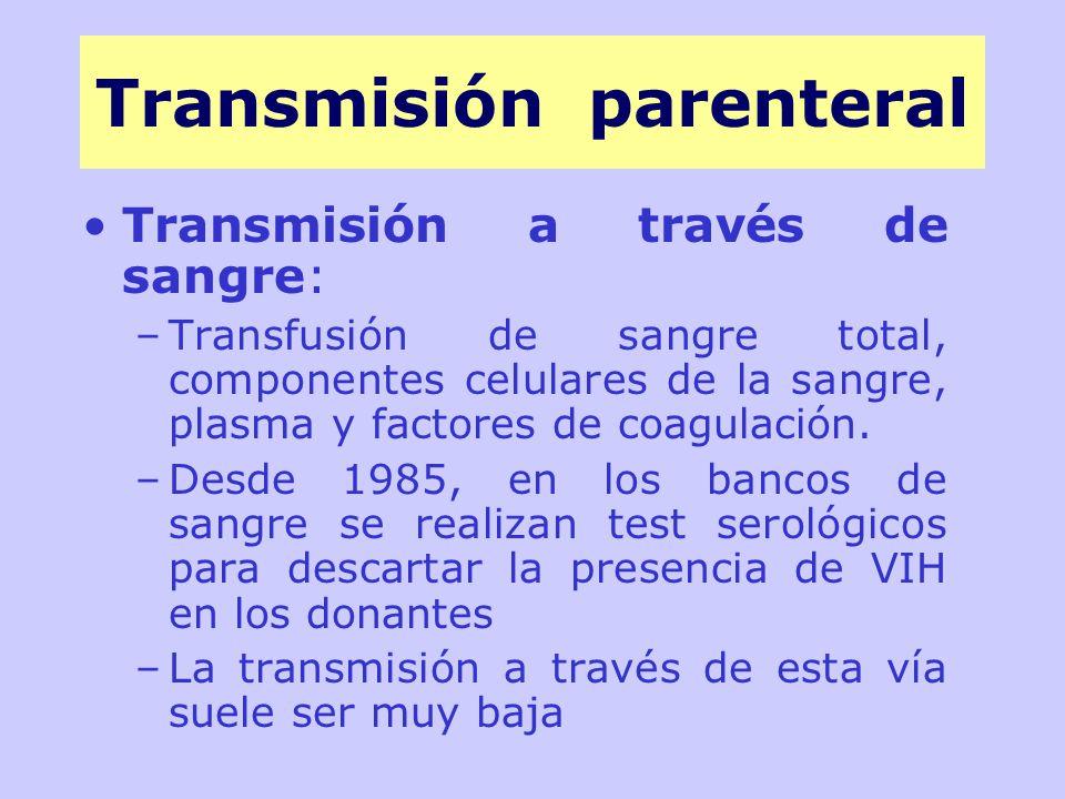 Transmisión a través de sangre: –Transfusión de sangre total, componentes celulares de la sangre, plasma y factores de coagulación.