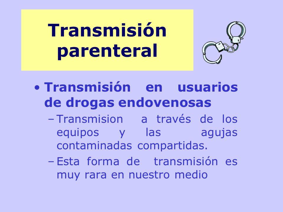 Transmisión en usuarios de drogas endovenosas –Transmision a través de los equipos y las agujas contaminadas compartidas.
