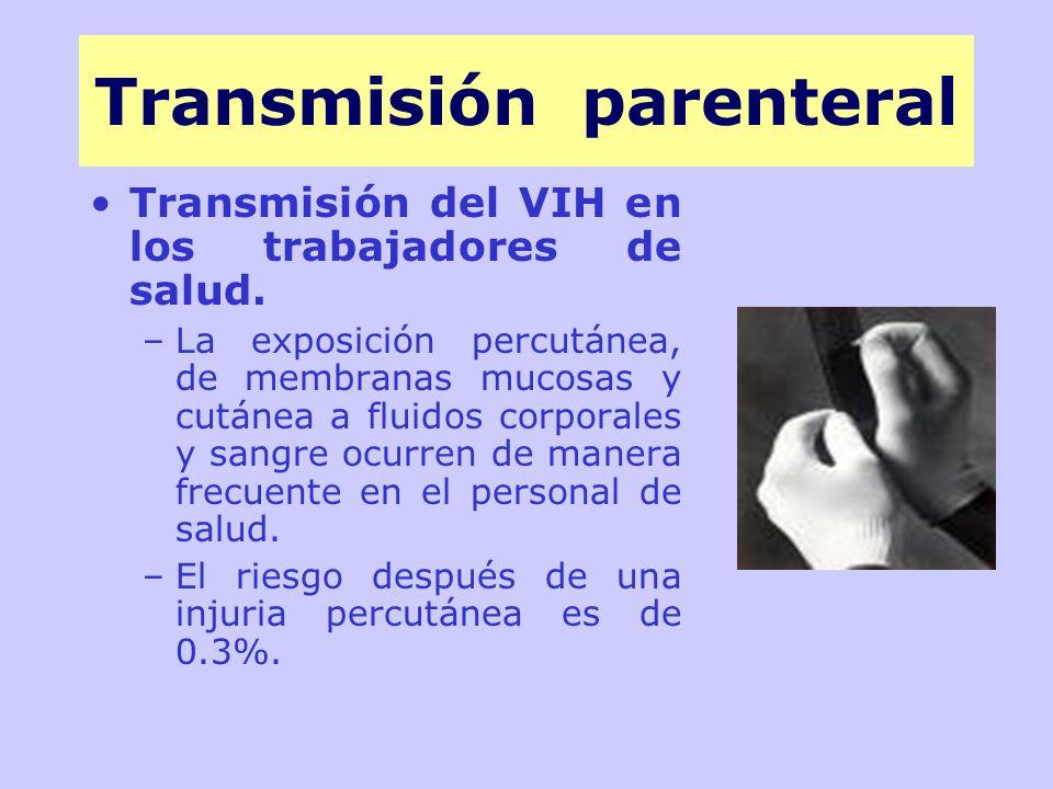 Transmisión del VIH en los trabajadores de salud.