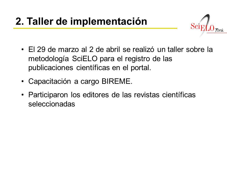 El 29 de marzo al 2 de abril se realizó un taller sobre la metodología SciELO para el registro de las publicaciones científicas en el portal. Capacita