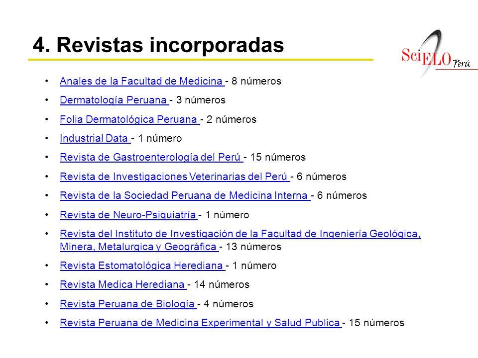 Anales de la Facultad de Medicina - 8 númerosAnales de la Facultad de Medicina Dermatología Peruana - 3 númerosDermatología Peruana Folia Dermatológic