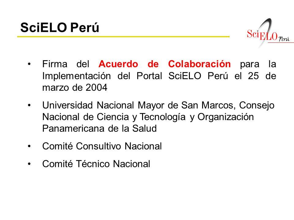Firma del Acuerdo de Colaboración para la Implementación del Portal SciELO Perú el 25 de marzo de 2004 Universidad Nacional Mayor de San Marcos, Conse