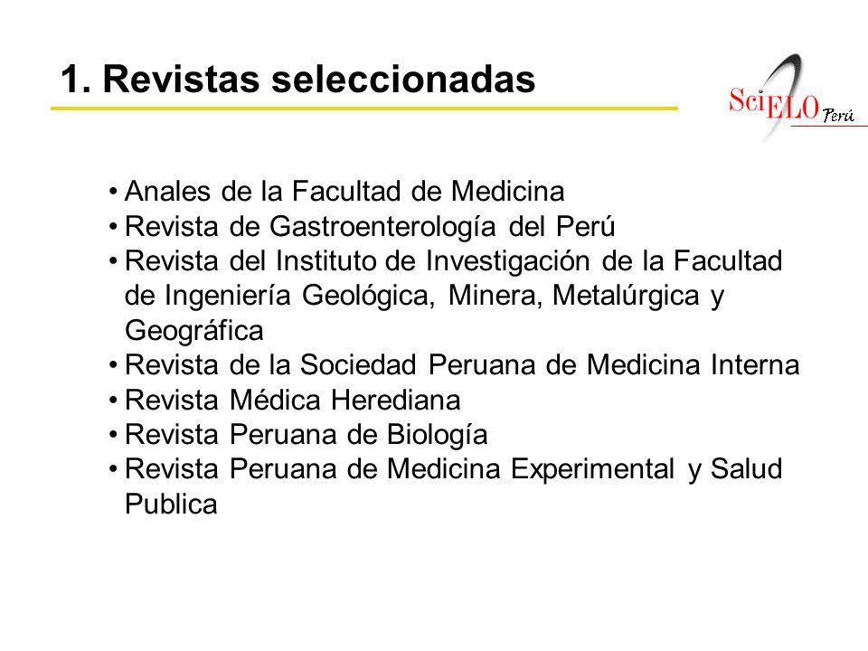 1. Revistas seleccionadas Anales de la Facultad de Medicina Revista de Gastroenterología del Perú Revista del Instituto de Investigación de la Faculta
