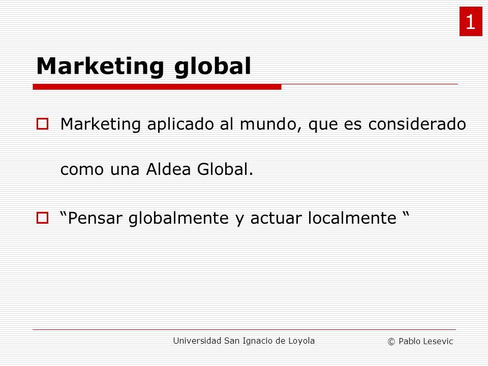 © Pablo Lesevic Universidad San Ignacio de Loyola Tipos de mercados Mercados geográficos: antes, en el Marketing Tradicional Mercados de producto: hoy, en el Marketing Global.