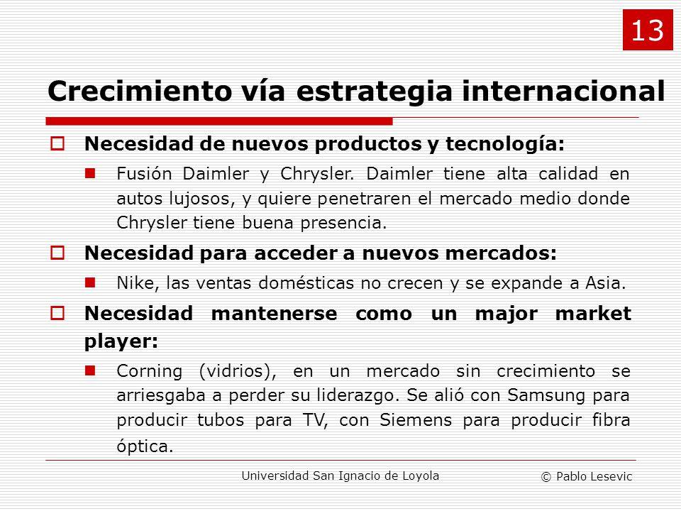 © Pablo Lesevic Universidad San Ignacio de Loyola Crecimiento vía estrategia internacional Necesidad de nuevos productos y tecnología: Fusión Daimler