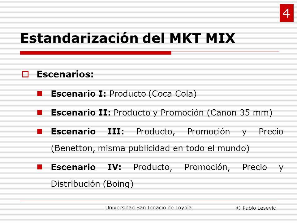 © Pablo Lesevic Universidad San Ignacio de Loyola Evaluación técnica de la estandarización Costo beneficio Balance entre los beneficios percibidos por el cliente y los costos del producto en diferentes mercados.