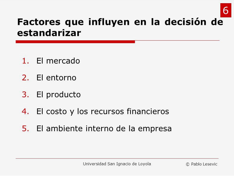 © Pablo Lesevic Universidad San Ignacio de Loyola Factores que influyen en la decisión de estandarizar 1.El mercado 2.El entorno 3.El producto 4.El co