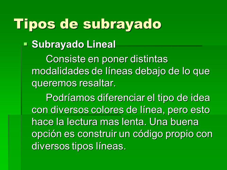 Tipos de subrayado Subrayado Lineal Subrayado Lineal Consiste en poner distintas modalidades de líneas debajo de lo que queremos resaltar. Podríamos d