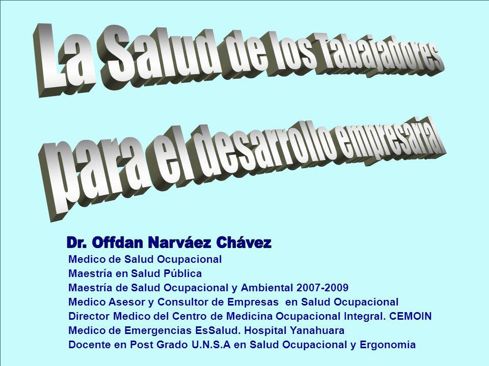 Medico de Salud Ocupacional Maestría en Salud Pública Maestría de Salud Ocupacional y Ambiental 2007-2009 Medico Asesor y Consultor de Empresas en Sal