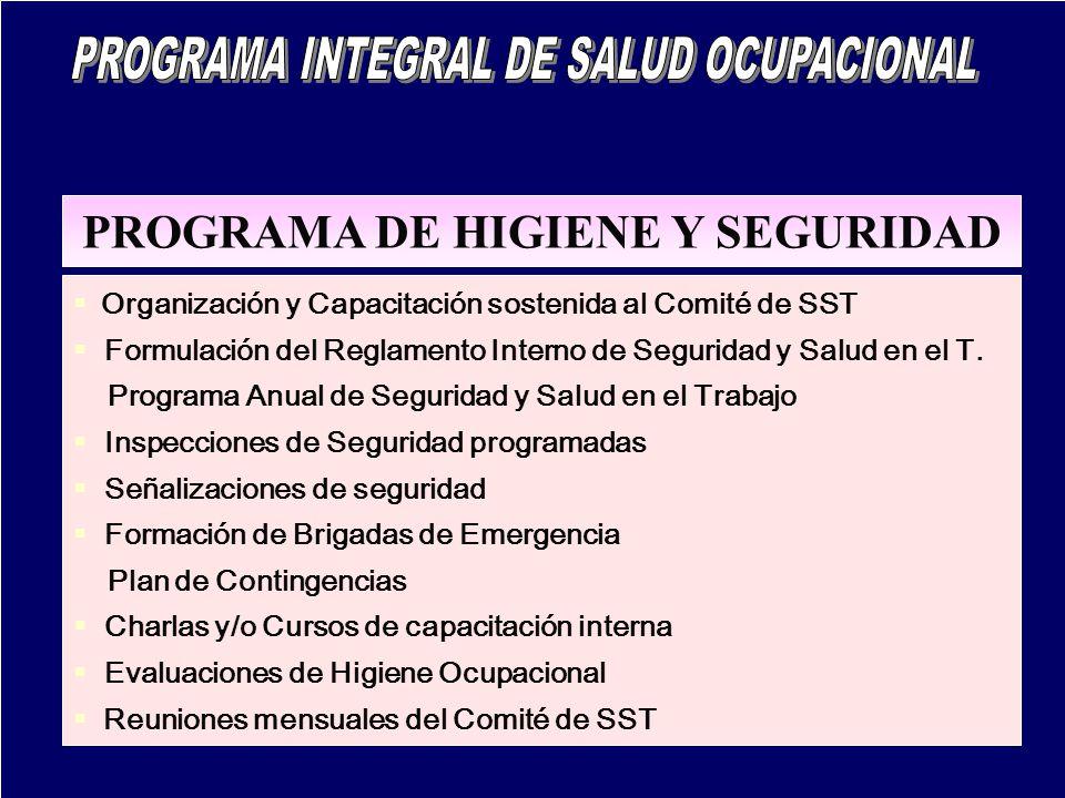 PROGRAMA DE HIGIENE Y SEGURIDAD Organización y Capacitación sostenida al Comité de SST Formulación del Reglamento Interno de Seguridad y Salud en el T