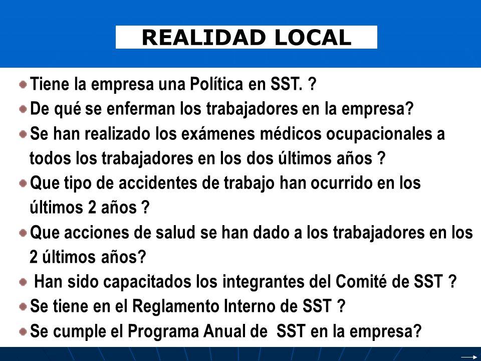 REALIDAD LOCAL Tiene la empresa una Política en SST. ? De qué se enferman los trabajadores en la empresa? Se han realizado los exámenes médicos ocupac