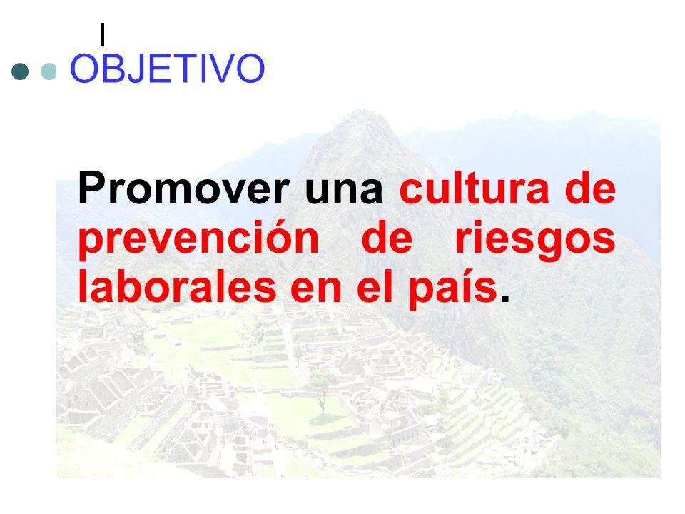 OBJETIVO Promover una cultura de prevención de riesgos laborales en el país.