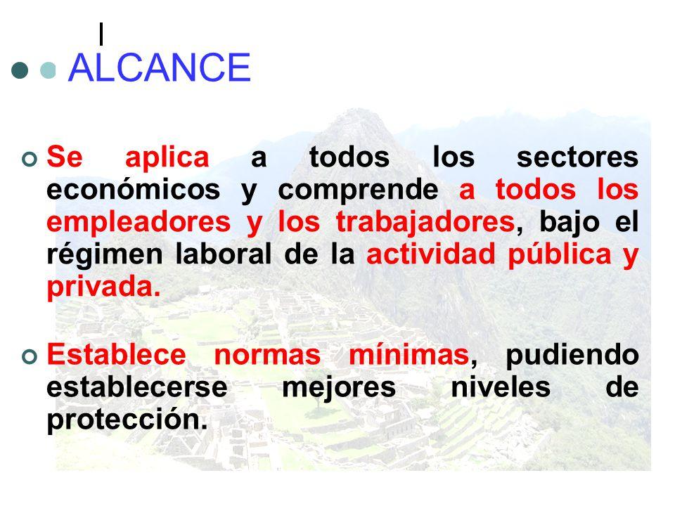 ALCANCE Se aplica a todos los sectores económicos y comprende a todos los empleadores y los trabajadores, bajo el régimen laboral de la actividad públ