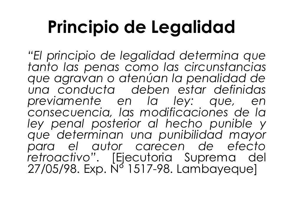 Principio de Legalidad El principio de legalidad determina que tanto las penas como las circunstancias que agravan o atenúan la penalidad de una condu