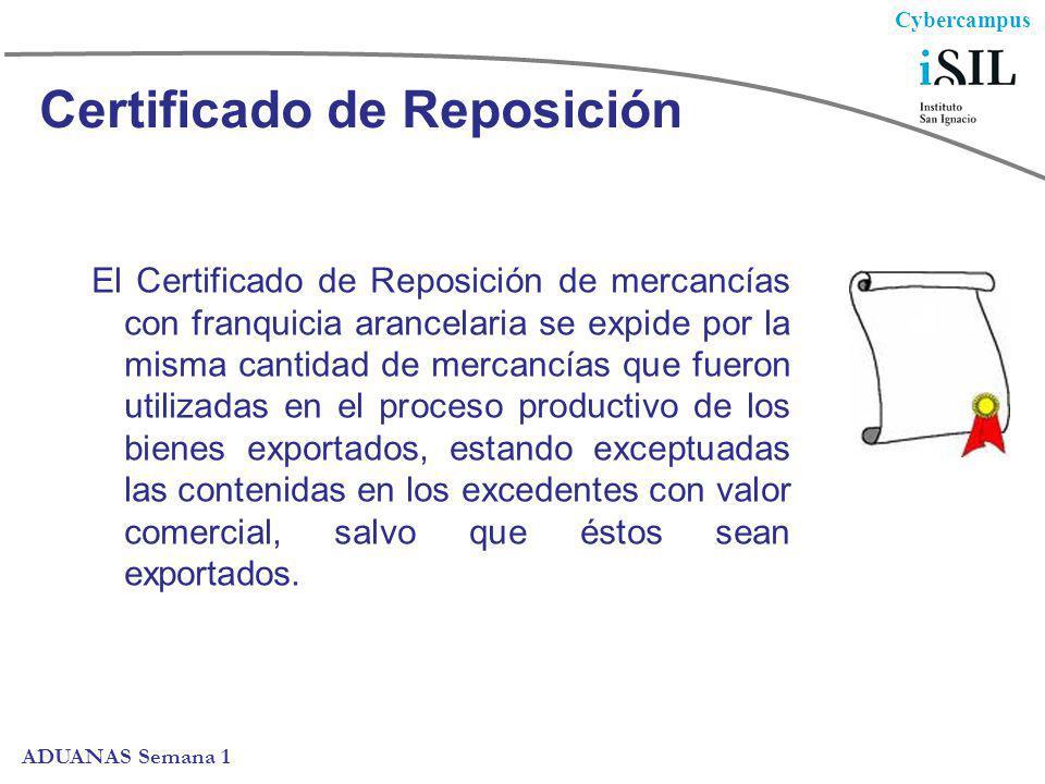 Cybercampus ADUANAS Semana 1 Certificado de Reposición El Certificado de Reposición de mercancías con franquicia arancelaria se expide por la misma ca