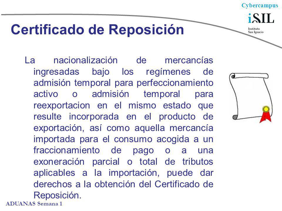 Cybercampus ADUANAS Semana 1 Certificado de Reposición La nacionalización de mercancías ingresadas bajo los regímenes de admisión temporal para perfec