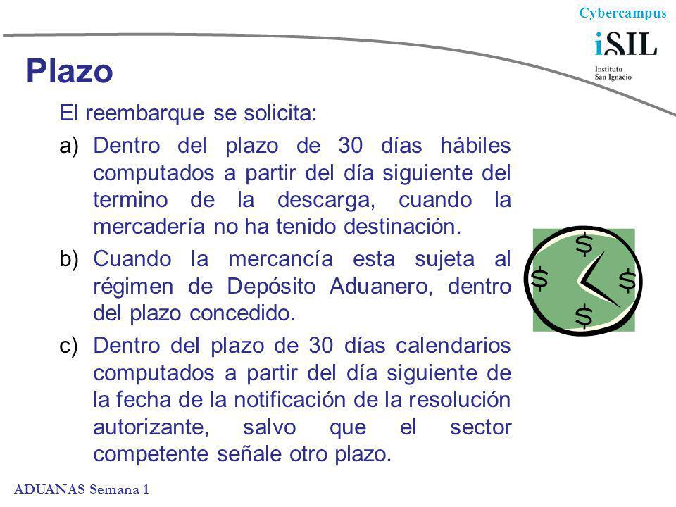 Cybercampus ADUANAS Semana 1 Plazo El reembarque se solicita: a)Dentro del plazo de 30 días hábiles computados a partir del día siguiente del termino