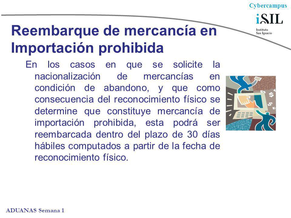 Cybercampus ADUANAS Semana 1 Reembarque de mercancía en Importación prohibida En los casos en que se solicite la nacionalización de mercancías en cond
