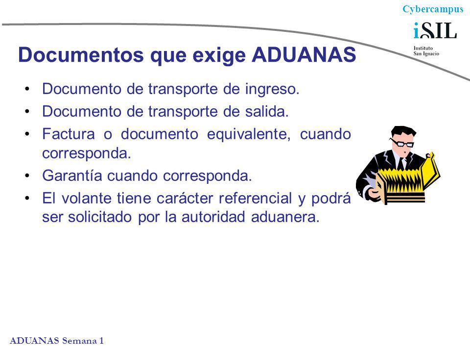Cybercampus ADUANAS Semana 1 Documentos que exige ADUANAS Documento de transporte de ingreso. Documento de transporte de salida. Factura o documento e