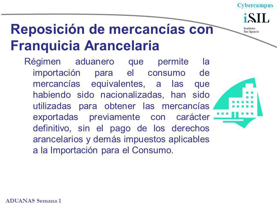 Cybercampus ADUANAS Semana 1 Reposición de mercancías con Franquicia Arancelaria Se considera mercancía equivalente a aquella idéntica o similar a la que fue importada y que es objeto de reposición.