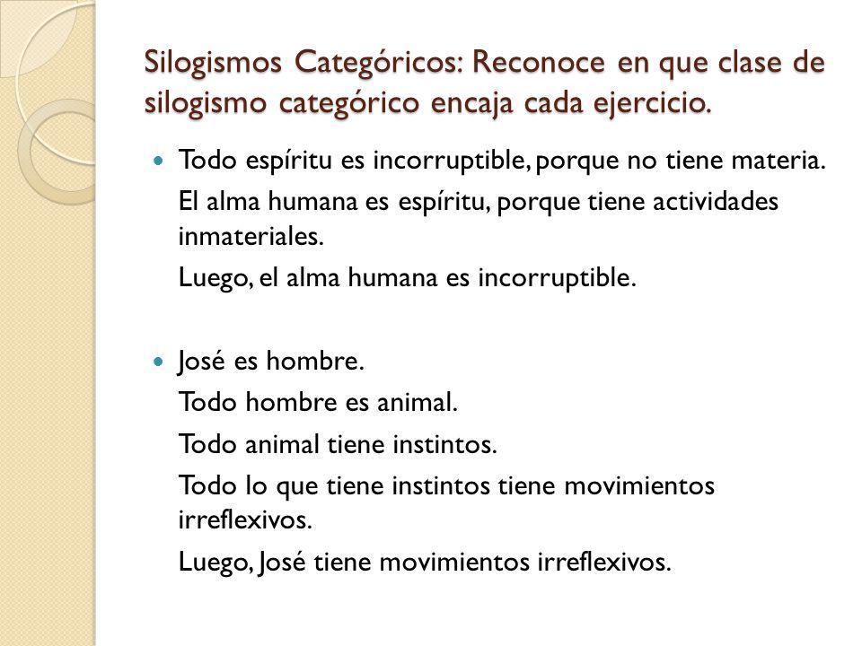 Silogismos Categóricos: Reconoce en que clase de silogismo categórico encaja cada ejercicio. Todo espíritu es incorruptible, porque no tiene materia.