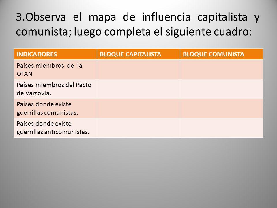 3.Observa el mapa de influencia capitalista y comunista; luego completa el siguiente cuadro: INDICADORESBLOQUE CAPITALISTABLOQUE COMUNISTA Países miem