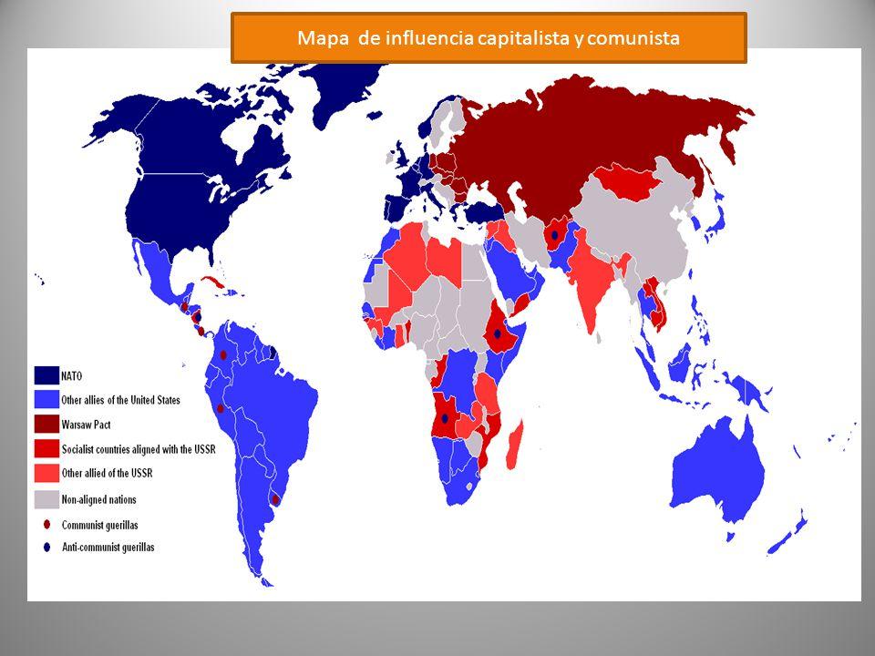 Mapa de influencia capitalista y comunista