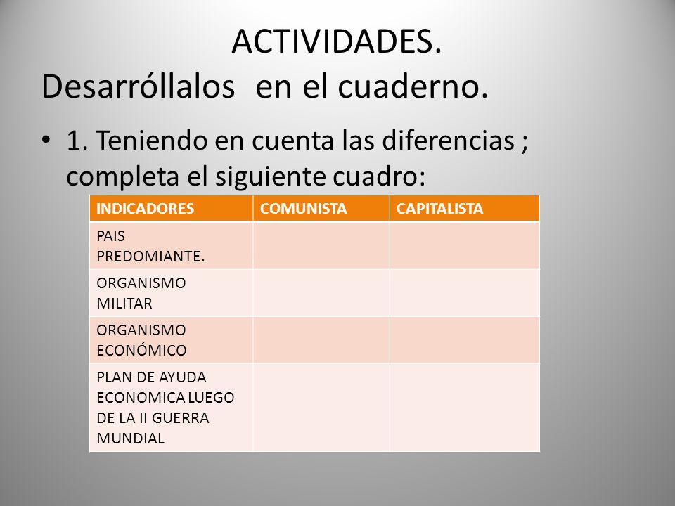 ACTIVIDADES. Desarróllalos en el cuaderno. 1. Teniendo en cuenta las diferencias ; completa el siguiente cuadro: INDICADORESCOMUNISTACAPITALISTA PAIS