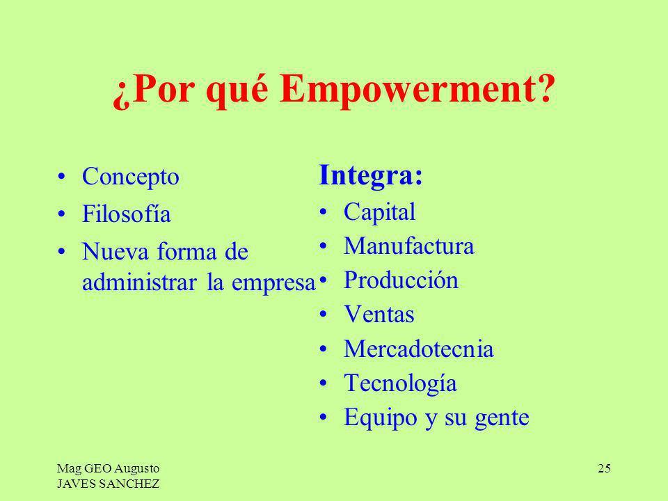 Mag GEO Augusto JAVES SANCHEZ 25 ¿Por qué Empowerment? Concepto Filosofía Nueva forma de administrar la empresa Integra: Capital Manufactura Producció