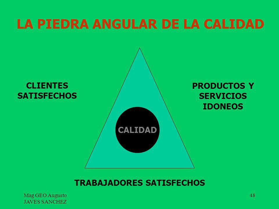 Mag GEO Augusto JAVES SANCHEZ 48 LA PIEDRA ANGULAR DE LA CALIDAD CALIDAD CLIENTES SATISFECHOS PRODUCTOS Y SERVICIOS IDONEOS TRABAJADORES SATISFECHOS
