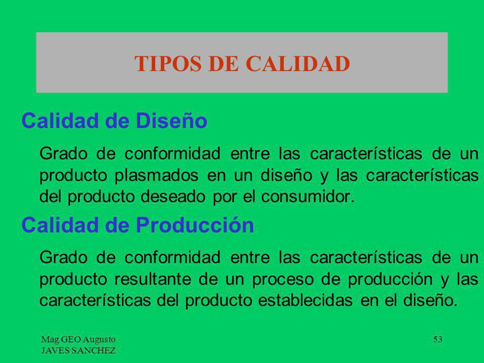 Mag GEO Augusto JAVES SANCHEZ 53 TIPOS DE CALIDAD Calidad de Diseño Grado de conformidad entre las características de un producto plasmados en un dise
