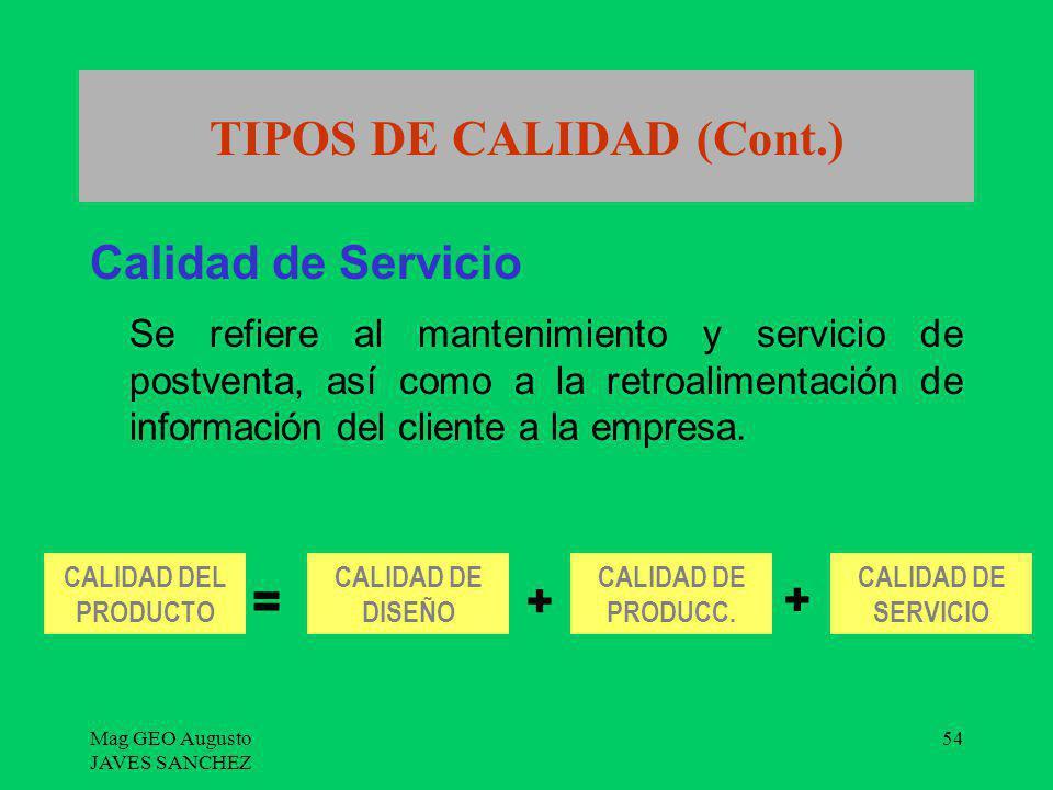 Mag GEO Augusto JAVES SANCHEZ 54 TIPOS DE CALIDAD (Cont.) Calidad de Servicio Se refiere al mantenimiento y servicio de postventa, así como a la retro