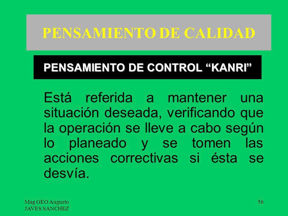 Mag GEO Augusto JAVES SANCHEZ 56 PENSAMIENTO DE CALIDAD Está referida a mantener una situación deseada, verificando que la operación se lleve a cabo s