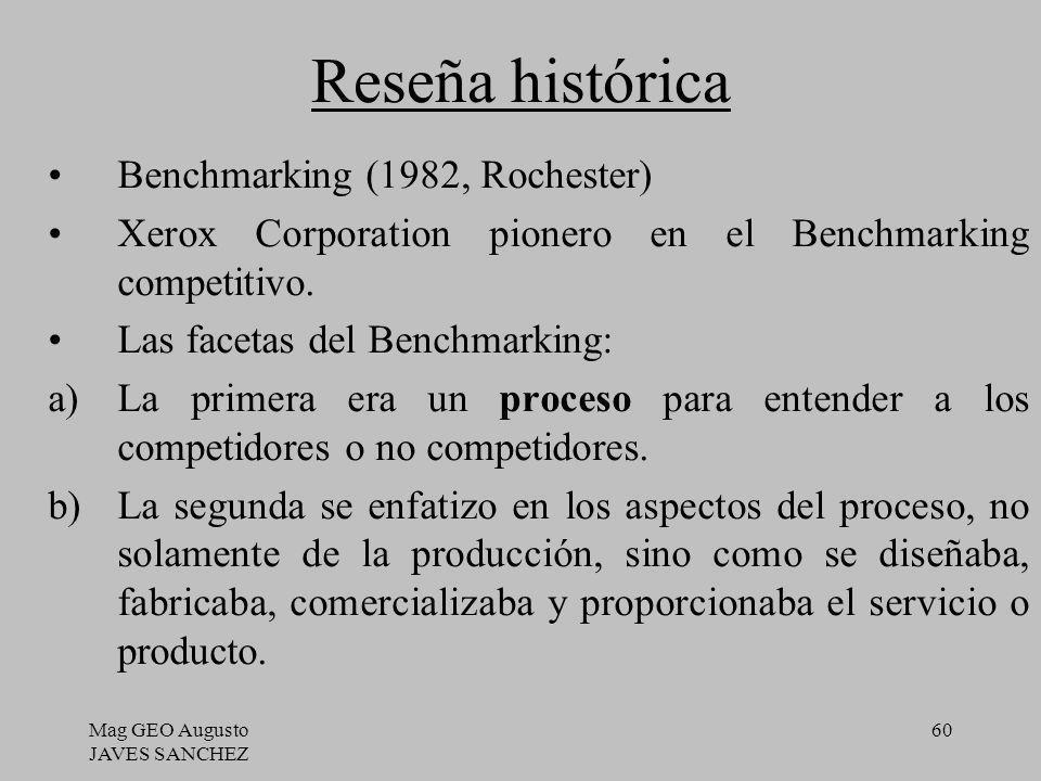 Mag GEO Augusto JAVES SANCHEZ 60 Reseña histórica Benchmarking (1982, Rochester) Xerox Corporation pionero en el Benchmarking competitivo. Las facetas